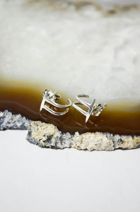 K/ller Silver Twist Spike Double Hoop Earrings
