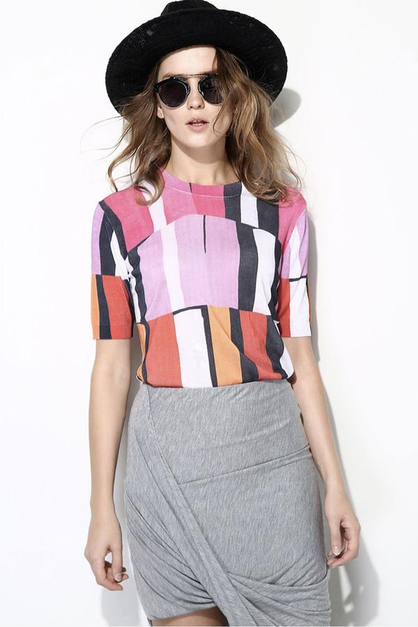 FEW MODA Abstract Print Knit Sweater