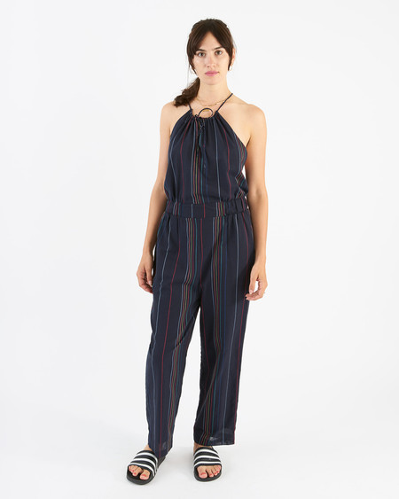 34N 118W house of cards jumpsuit - navy pinstripe