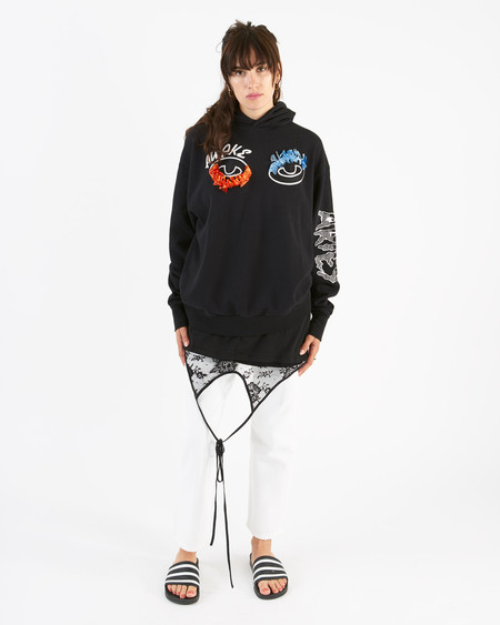 Unisex Aries awake embroidered hoodie - black