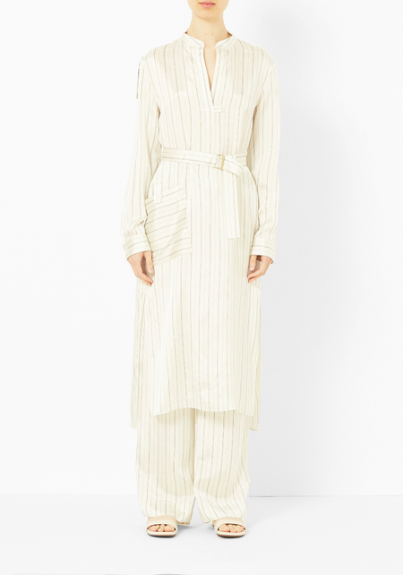 Tibi Ivory Striped Shirt Dress