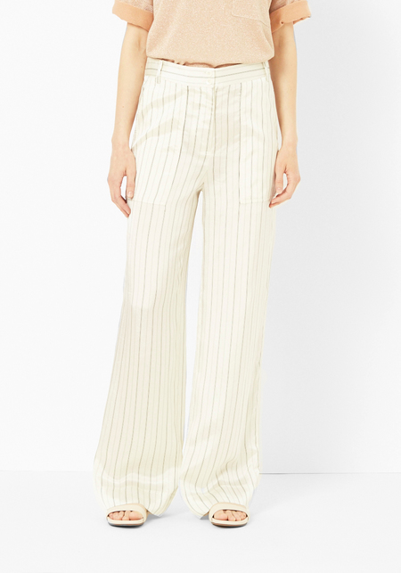 Tibi Ivory Striped Cargo Pant