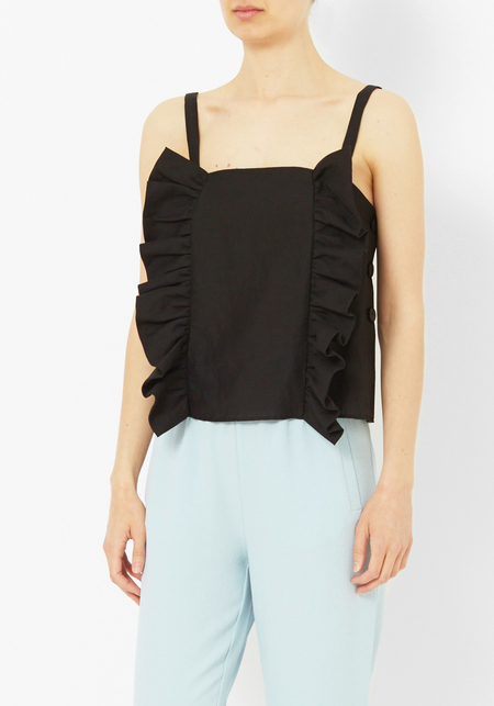 Creatures of Comfort Kuri Black Silk Linen Top