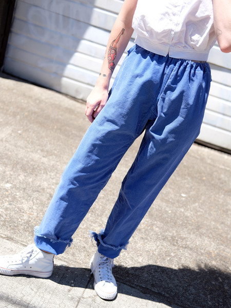 Shop Boswell VINTAGE BLUE CANVAS DRAWSTRING PANTS