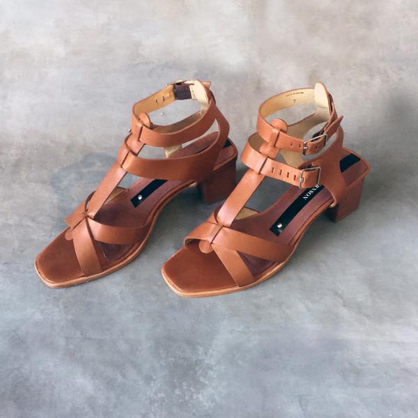Matt Bernson KM Block High Heel Cognac Sandal