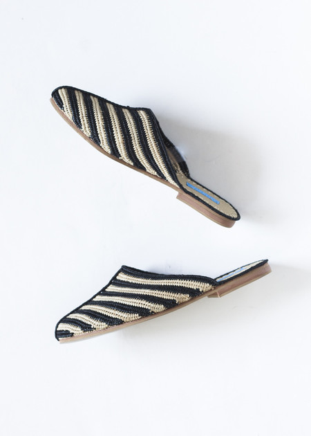 Proud Mary Raffia Slide in Black Stripe