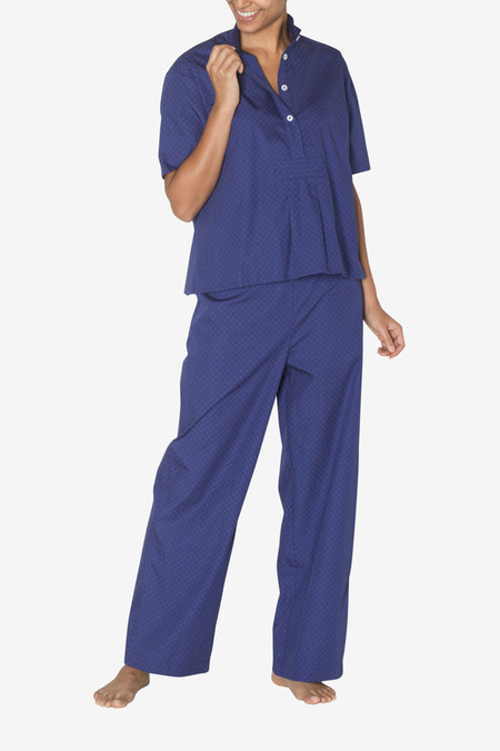 The Sleep Shirt Set - Short Sleeve Cropped Sleep Shirt and Lounge Pant Navy with Red Clusters