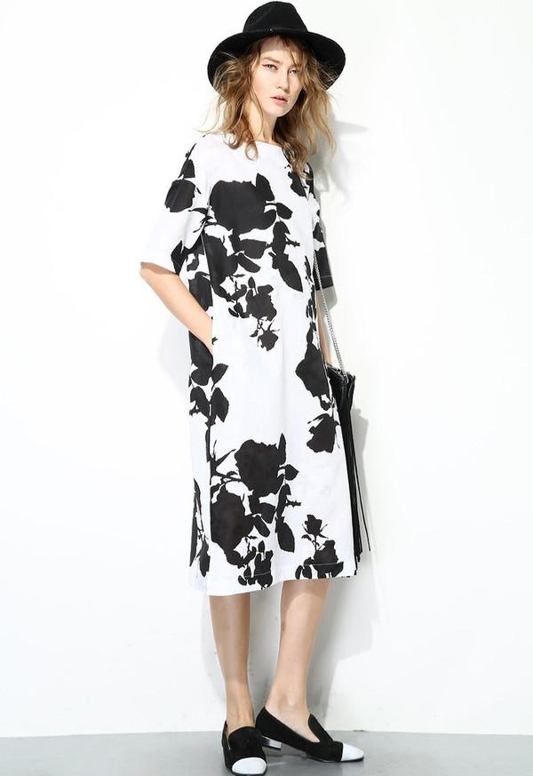 Few Moda Floral Linen Midi Dress