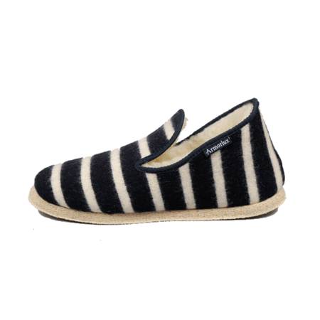 Unisex Armor Lux Handmade Wool Slippers - Navy / Nature Stripe