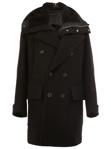 Juun.J Black Shearling Hooded Coat