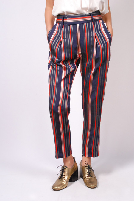 Smythe Cropped Pleat Pant Multi Stripe