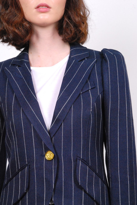 Smythe Pouf Sleeve One Button Blazer - Pinstripe