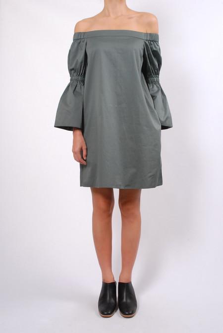 Tibi Satin Poplin Bell Sleeve Dress - Denali Green
