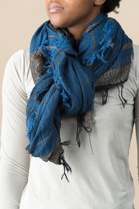 Tamaki Niime #13 Cotton/Wool Shawl In Ocean