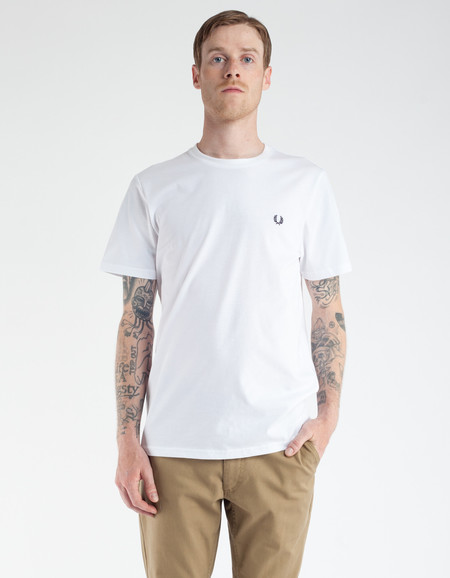 Fred Perry Crew Neck Tee White