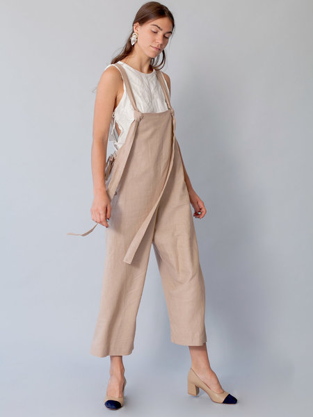 Lera Pivovarova Linen Work Frida Overalls in Light Hay