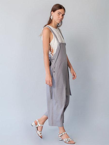Lera Pivovarova Linen Work Frida Overalls in Grey Cloud