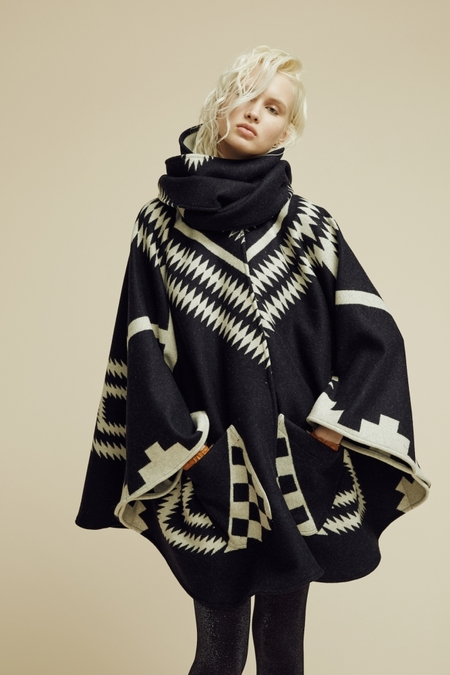 Lindsey Thornburg + Pendleton Black Los Ojos Mid-Length Cloak