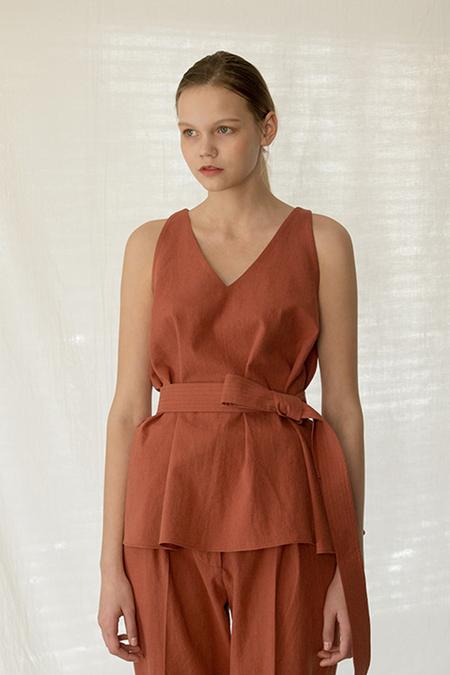 A.A Belted Linen Top - Rust