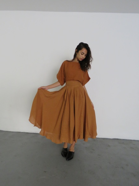 BLACK CRANE WRAP SKIRT - RUST