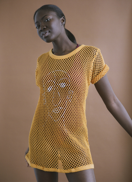 William Okpo MAN FACE MESH TEE - GOLDEN YELLOW