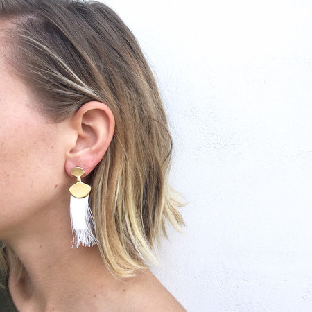 Takara Palma Earrings in White