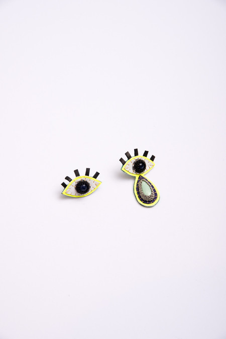 Robin Mollicone Eye Earrings with Single Teardrop in Sodalite/Variscite