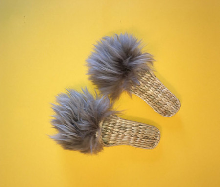 Folk Fortune Handwoven Slippers with Lamb Wool - Gray
