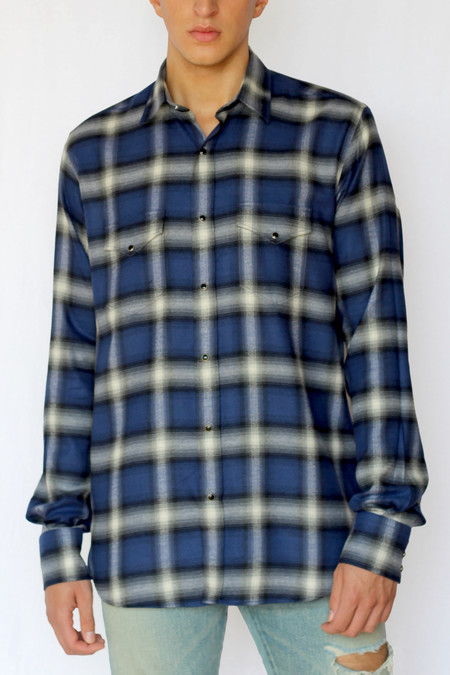 Commun des Mortels shadow plaid western shirt - klein blue