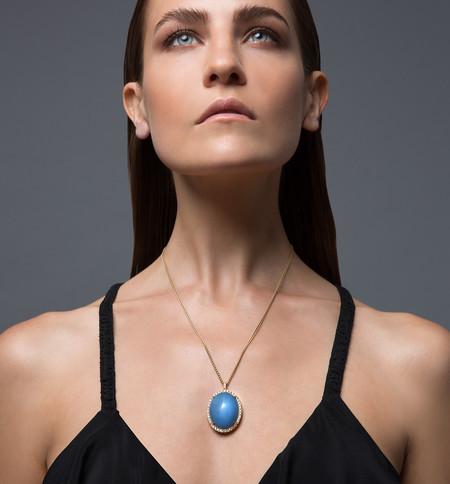 Lola Fenhirst Denim Opal and Champagne Diamond Pendant