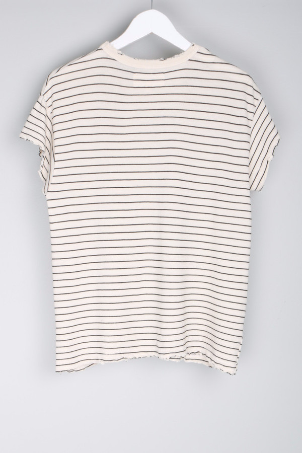 The Great. Boxy Crew Cream Stocking Stripe Tee