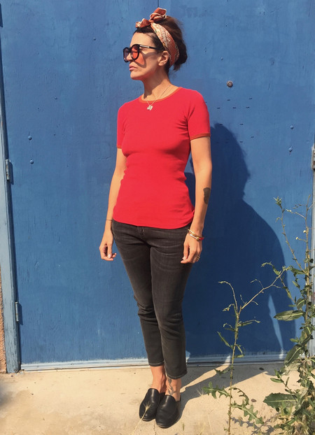 ad hoc penticton No.6 Lola Ribbed Tee in Tomato with Rust