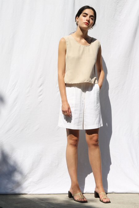 DUO NYC VINTAGE CROP SILK TANK