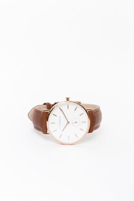 The Horse Classic Leather Watch / Polished Rose Gold, White face, Tan leather
