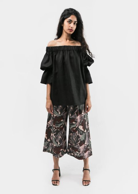 Svilu Cropped Wide Leg Pant - Palm Print