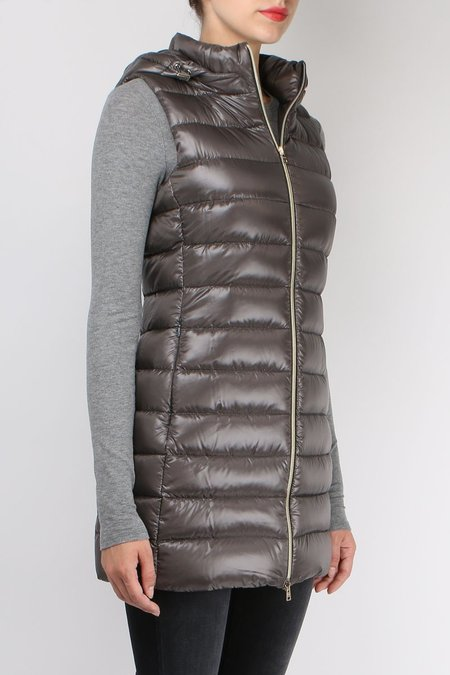 Herno Long Fitted Down Vest - Charcoal