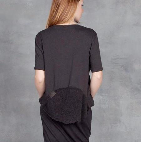 Raquel Allegra Boxy Tee with Back Shred in Black