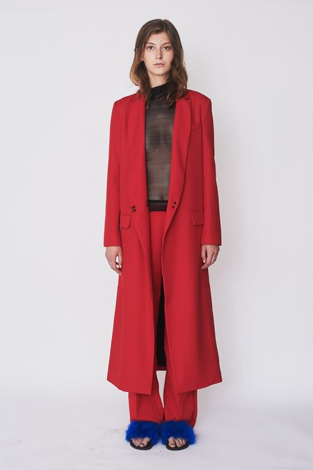 Assembly New York Wool Long Coat - Red