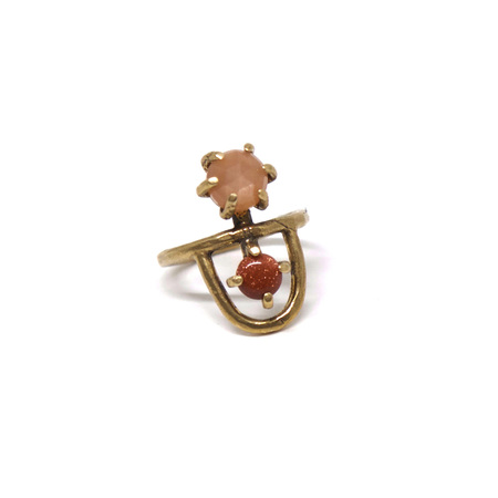 Laurel Hill Jewelry Arche Ring - Peach Moonstone & Goldstone