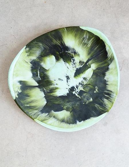 Dinosaur Designs Large Modern Tribal Platter in Malachite