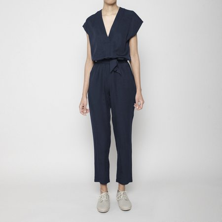7115 by Szeki Signature V-Neck Jumpsuit - Navy