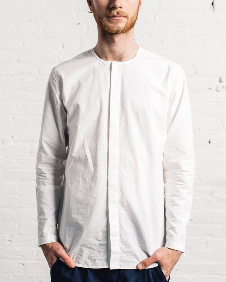 Folk White Collarless Shirt