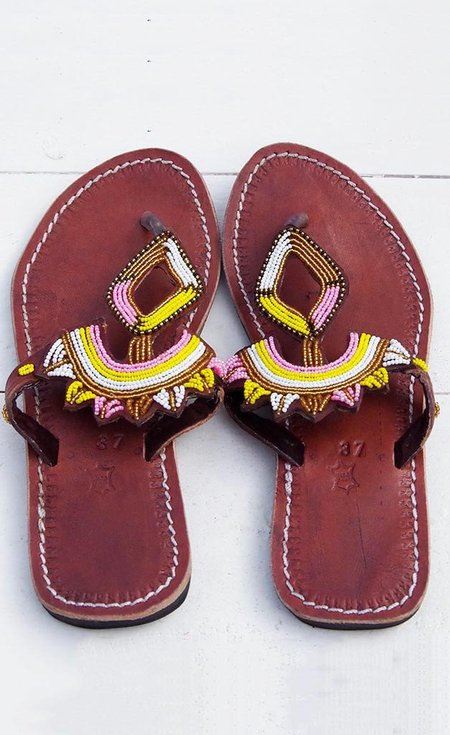 Studio One Eighty Nine Pink and Gold Beaded Sandals