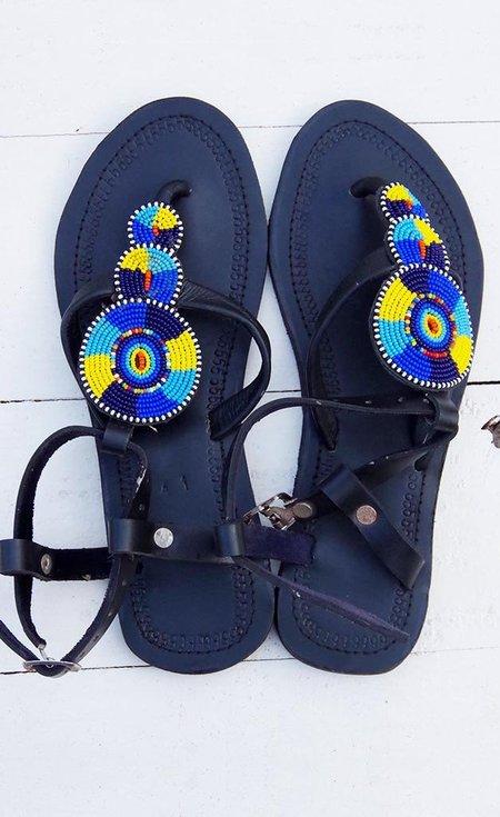 Studio One Eighty Nine Yellow and Blue Circle Beaded Sandals