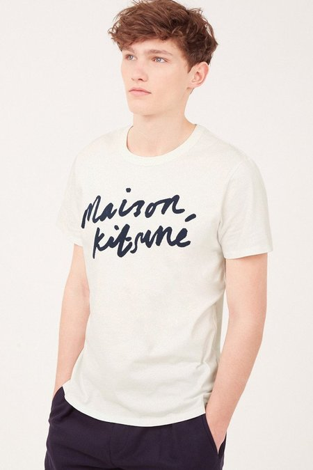 Kitsune Tee Shirt Handwriting - Latte