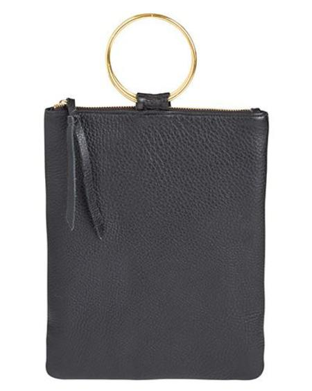 Oliveve Laine Brass Ring Bag in Black Pebbled Leather