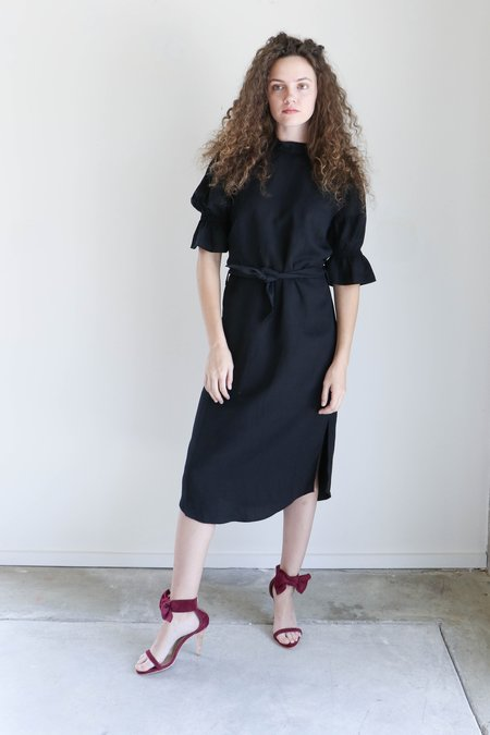 Apiece Apart Yerba Santa Ruffle Sleeve Dress in Black