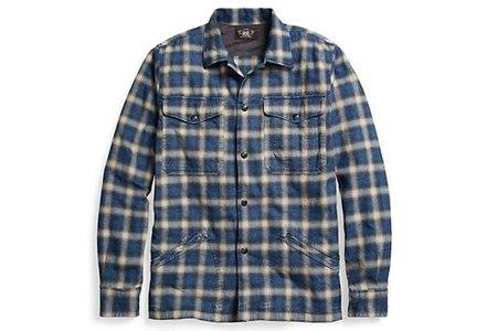 Men's RRL Plaid Cotton Overshirt