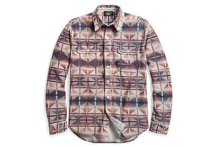 Men's RRL Printed Cotton Terry Workshirt