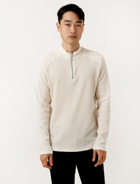 Patrik Ervell Mens LS Zip Mockneck Ivory Thermal Knit